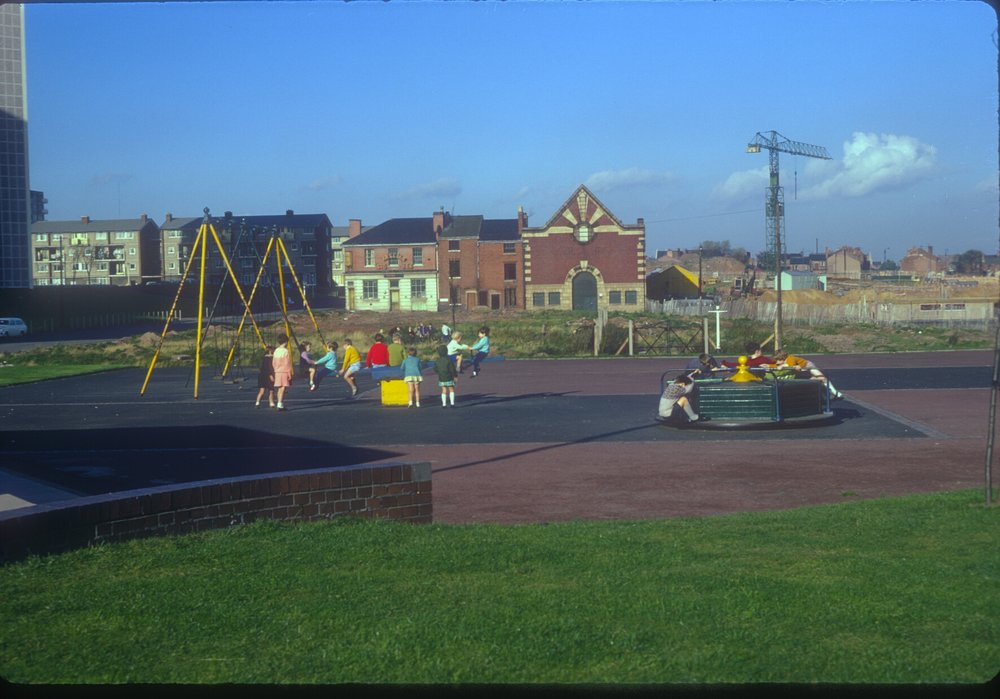Nechells Green, Oliver St, children playing. 13th October 1968