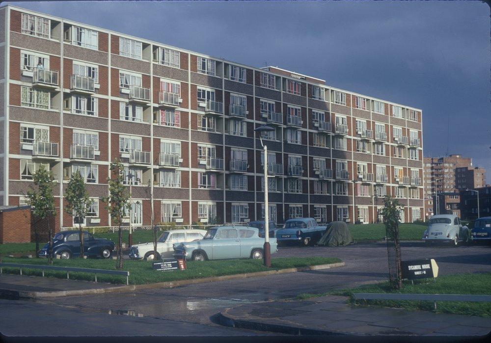 Nechells Green, Rupert St, back of Southdown House. View from Rupert St towards Great Lister St. 13th October 1968