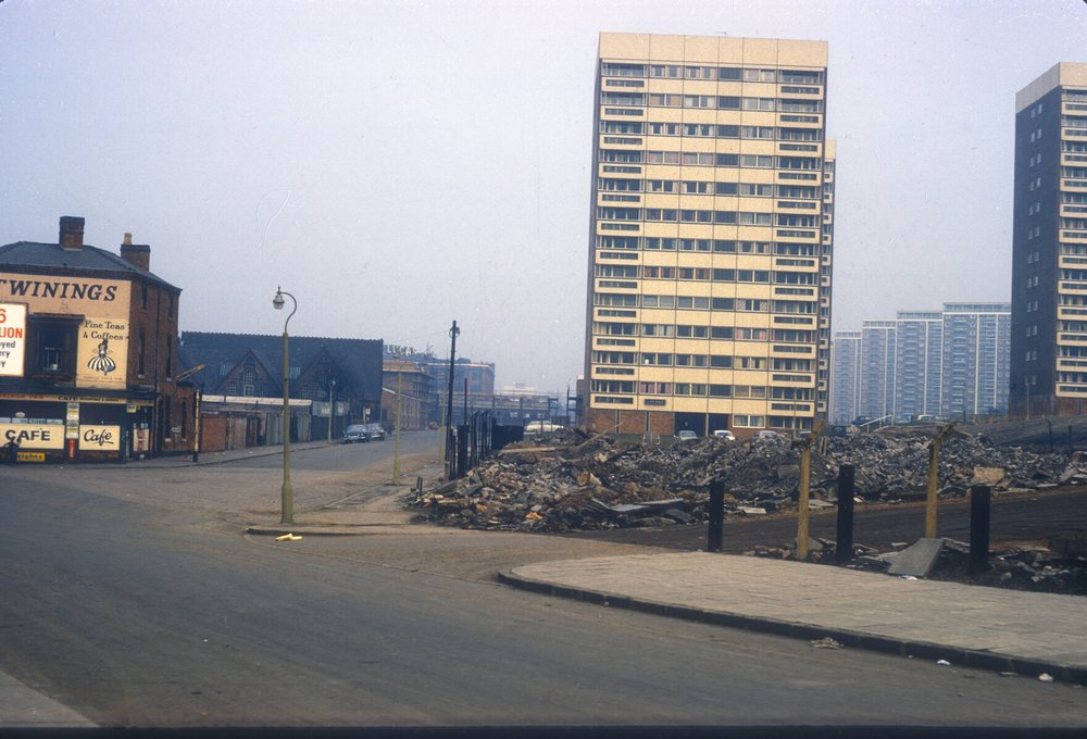 Newtown, Bridge Street from Farm Street, Hockley. Row of flats to the right in New John Street (note the Lucas Factory) 2nd March 1968