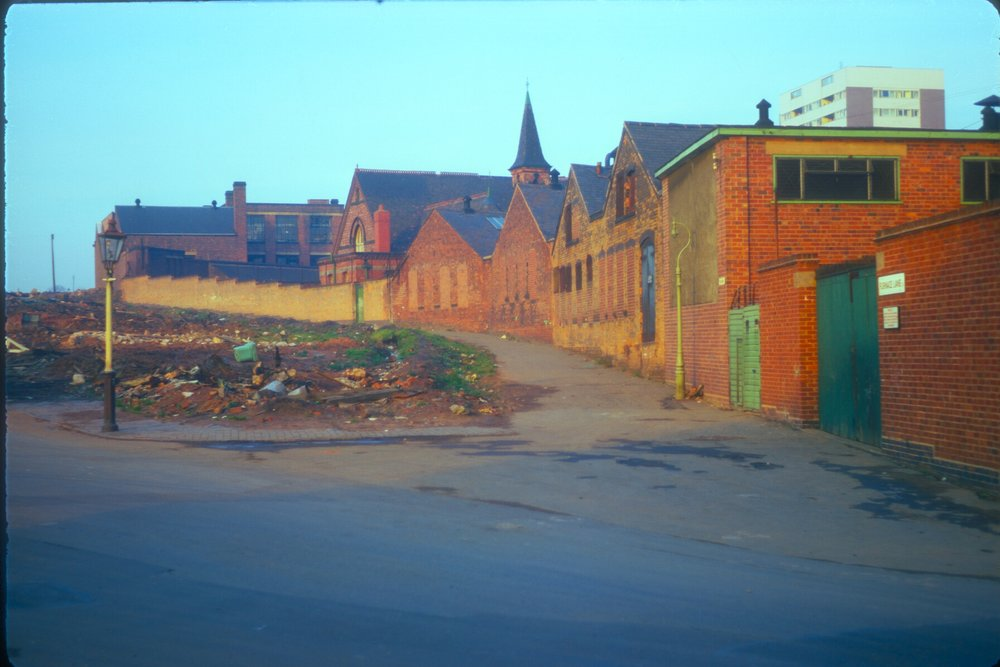 Newtown, Hockley. Furnace Lane (Curving Wall) to Aston Furnace on Hockley Brook (viewpoint Porchester Street) 9th November 1968