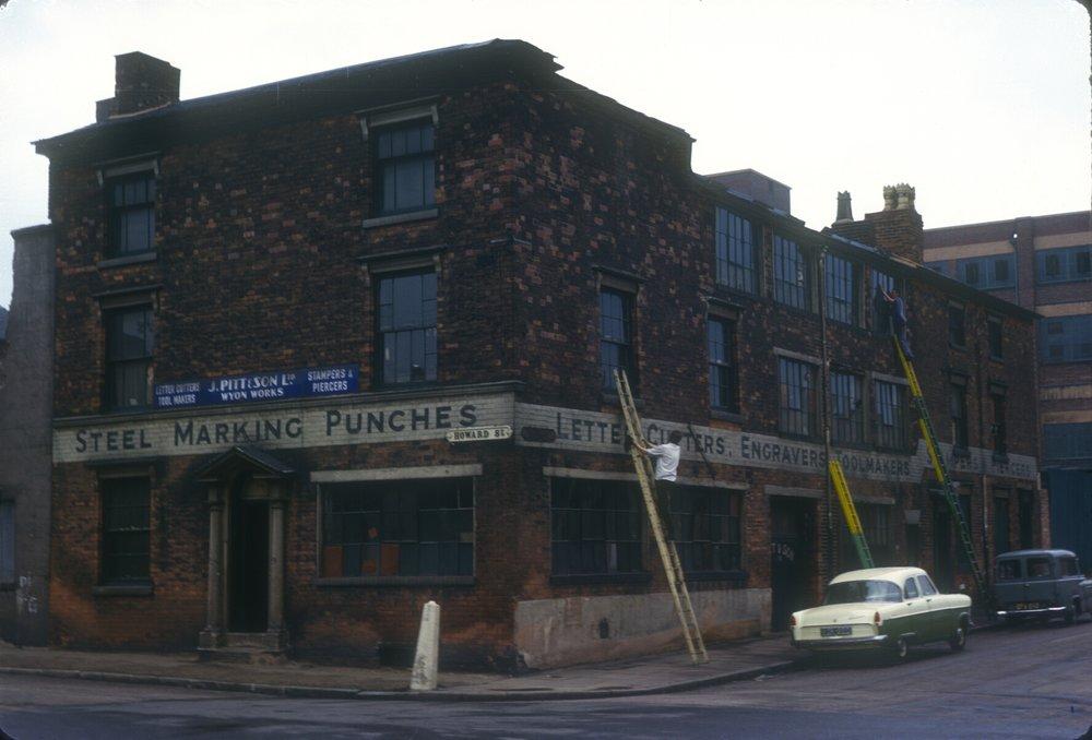 Newtown, Howard Street (near St Georges), Mott Street Corner. J. Pitt & Son Ltd Wyon Works, Steel Marking, Punches, Letter Cutters, Engravers & Tool Makers. 14th May 1963