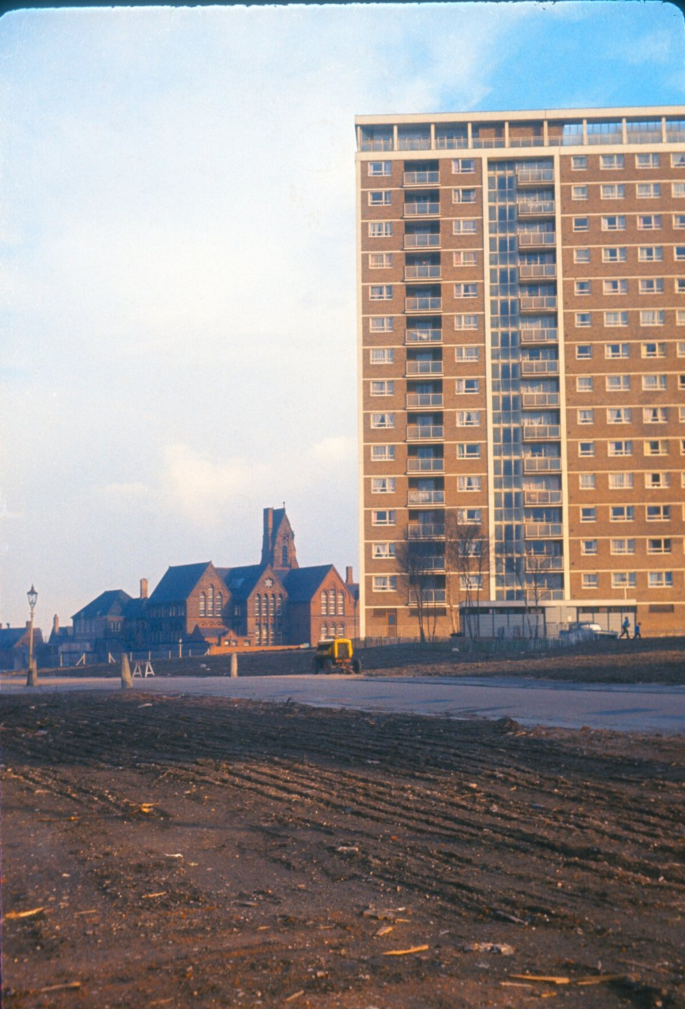Newtown, Old School and New Flats, New John Street West. 28th March 1967