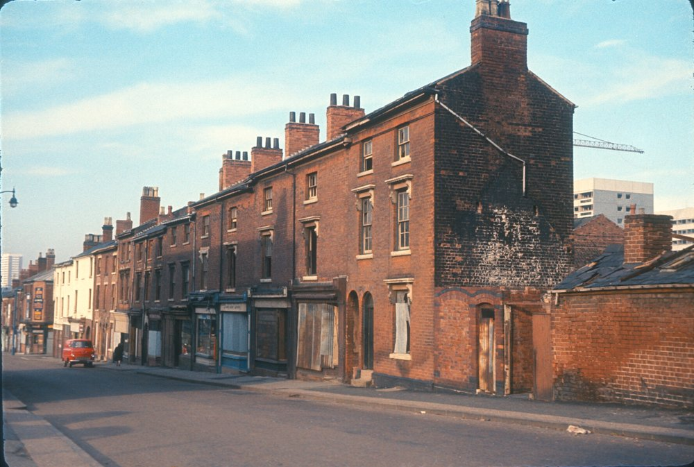Newtown, Old Houses in Wheeler Street, New Flats in Great Russell Street. 28th March 1967