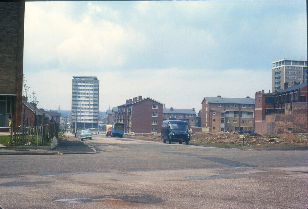 Newtown, Unett Street Redevelopment (Near New John Street West) St Michaels Church, Handsworth to the left. 14th May 1963