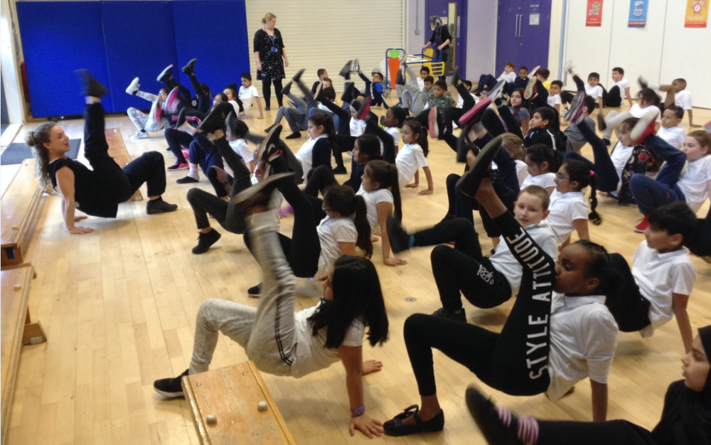 Warming up and testing flexibility at Blakesley Hall Primary School, Year 4.png
