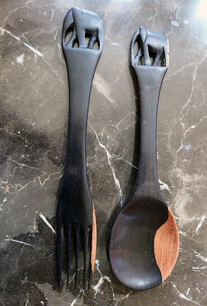 African Elephant Wood Salad Server Set 2 The Hope Collective