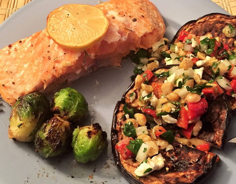 Note: This is NOT the first meal he cooked for me, but a different salmon-focused meal he made, along with roasted brussel sprouts and eggplant topped with a chickpea,tomato and feta salad.