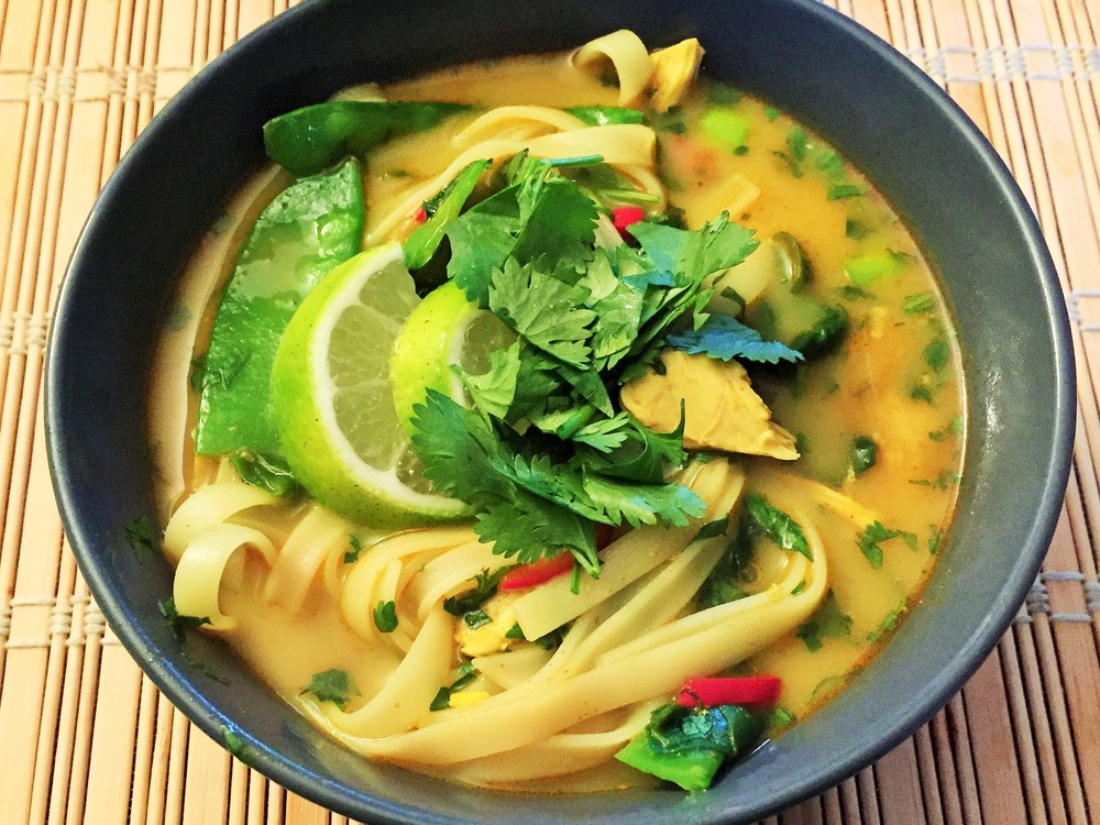 Another Jarred creation: an Asian chicken soup topped with cilantro and lime . Delicious.