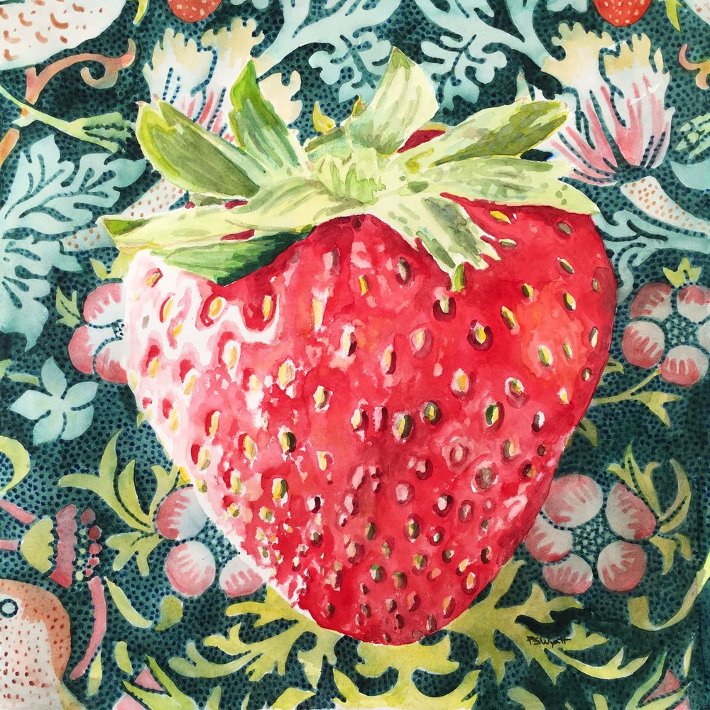 Strawberry Thief I 18 x 18 inches   watercolor on paper finished with wax