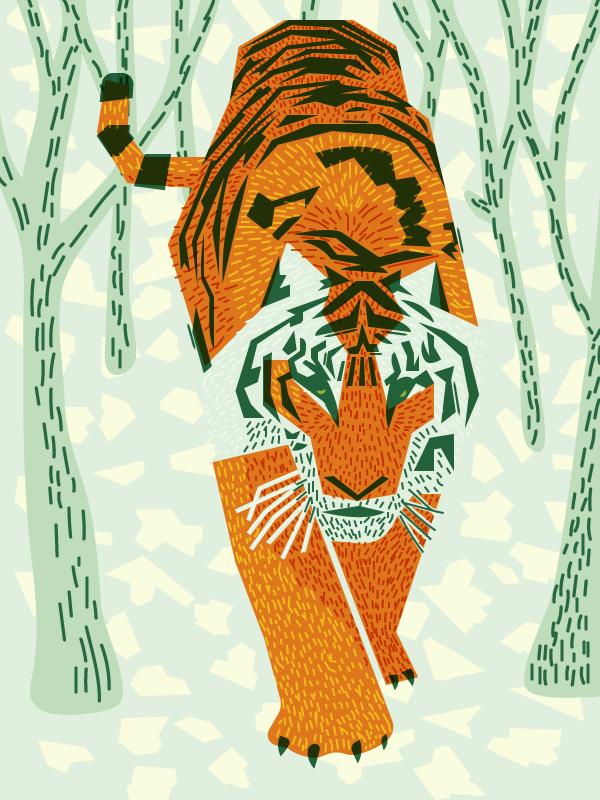 The tiger with some basic background elements worked in - leaf litter and small tree trunks.
