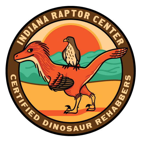 The third iteration, with new color scheme, more elegant design of the dinosaur, and typography added.