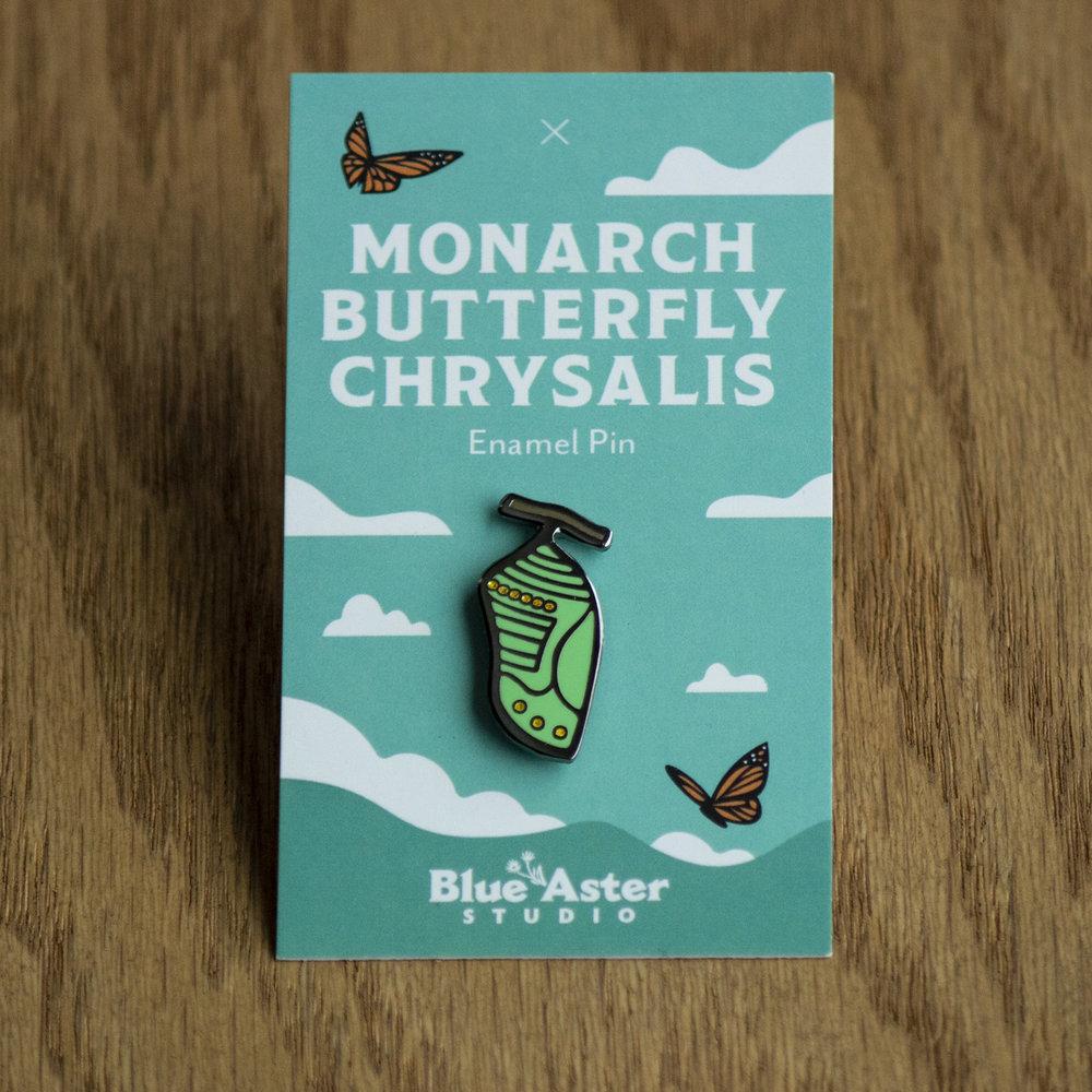 Monarch chrysalis enamel pin