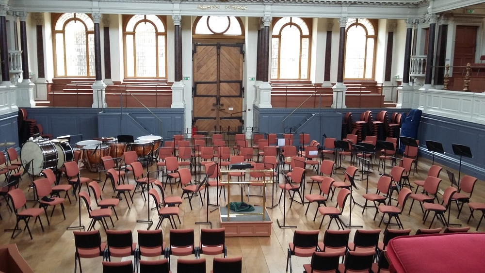 Sheldonian Theatre, Oxford: Performance Area with full orchestra layout