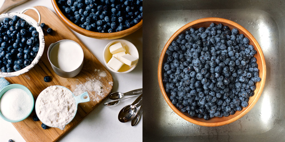 Making blueberry cobbler
