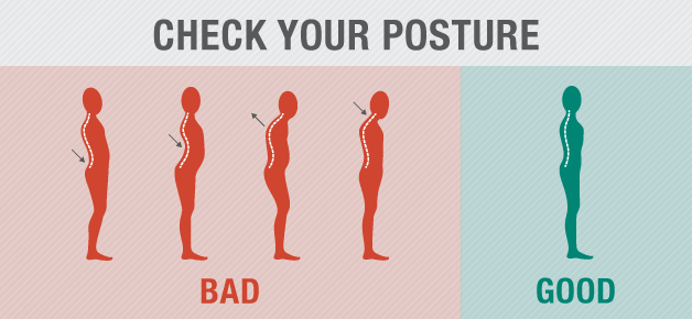 Good posture: shoulders over hips, shoulder blades down and back, chin parallel to the floor, ears over shoulders.