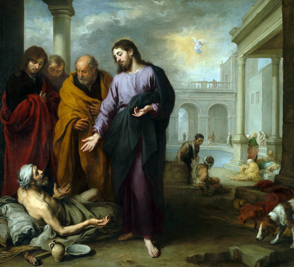 Bartolomé Esteban Murillo.  Christ Healing the Paralytic at the Pool of Bethesda