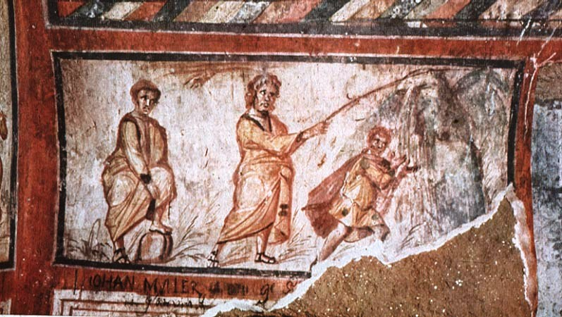 """Moses Striking the Rock,"" Early 3rd Century Rome, Catacomb of St. Callixtus"
