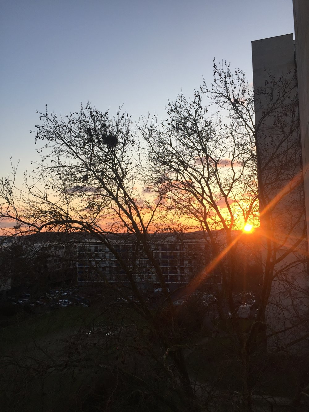 Winter Sunset from our apartment in Massy, France