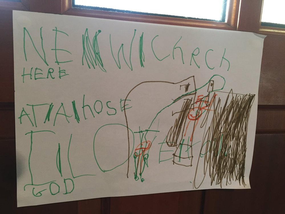 """New Church Here. At a house. I love God."" by Eli"