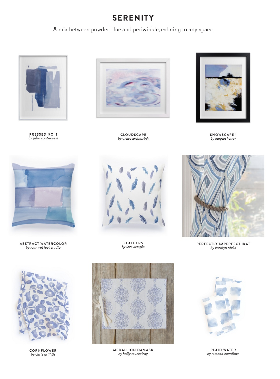 Minted: Spring Decorating Look Book: Serenity