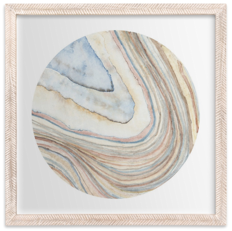 Minted: Mineral 03 Print, Whitewashed Herringbone Frame