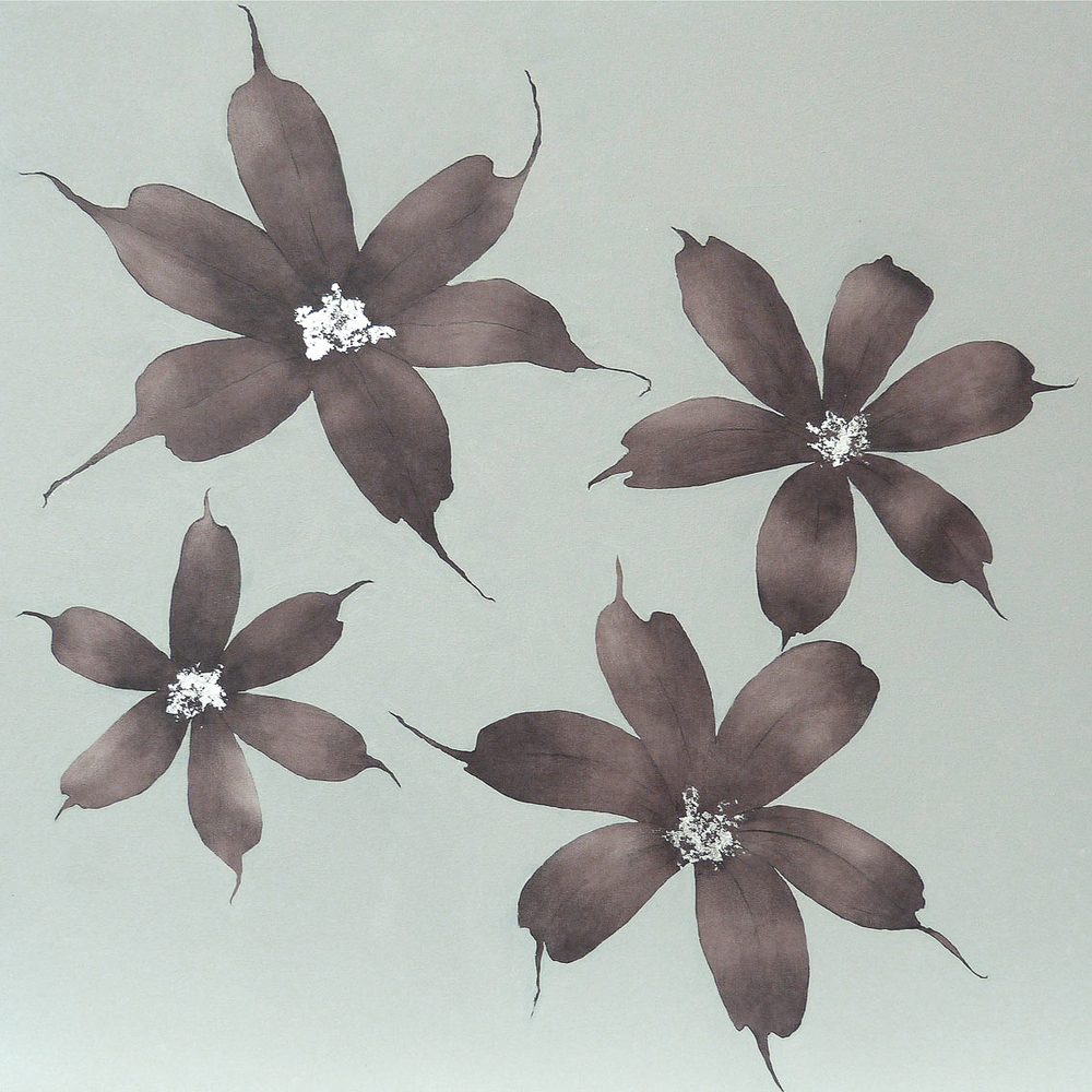 SISYRINCHIUM 102x102cm    | oil on canvas with silver leaf |   £1,400.00 | SOLD