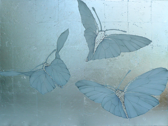 THREE BUTTERFLIES - MAYFIELD   102x76cm   | oil on canvas with silver leaf | £1,500.00 |    SOLD
