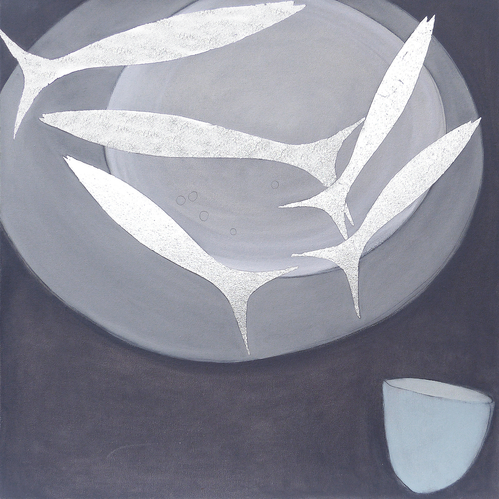 FIVE FISH BLUE HUGH  76x76cm   | oil on canvas with silver leaf | £900.00  |  SOLD