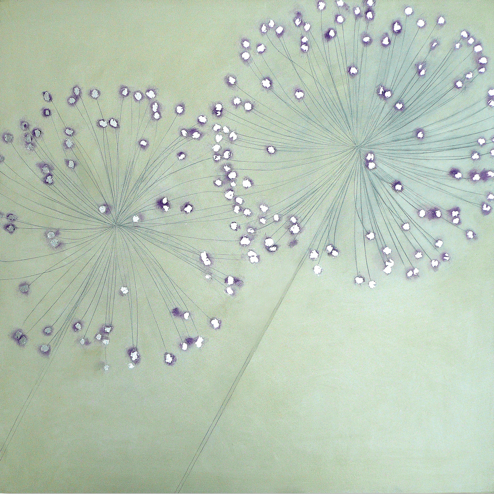 ALLIUM 92x92cm    | oil on canvas with silver leaf |   £1,500.00 | SOLD