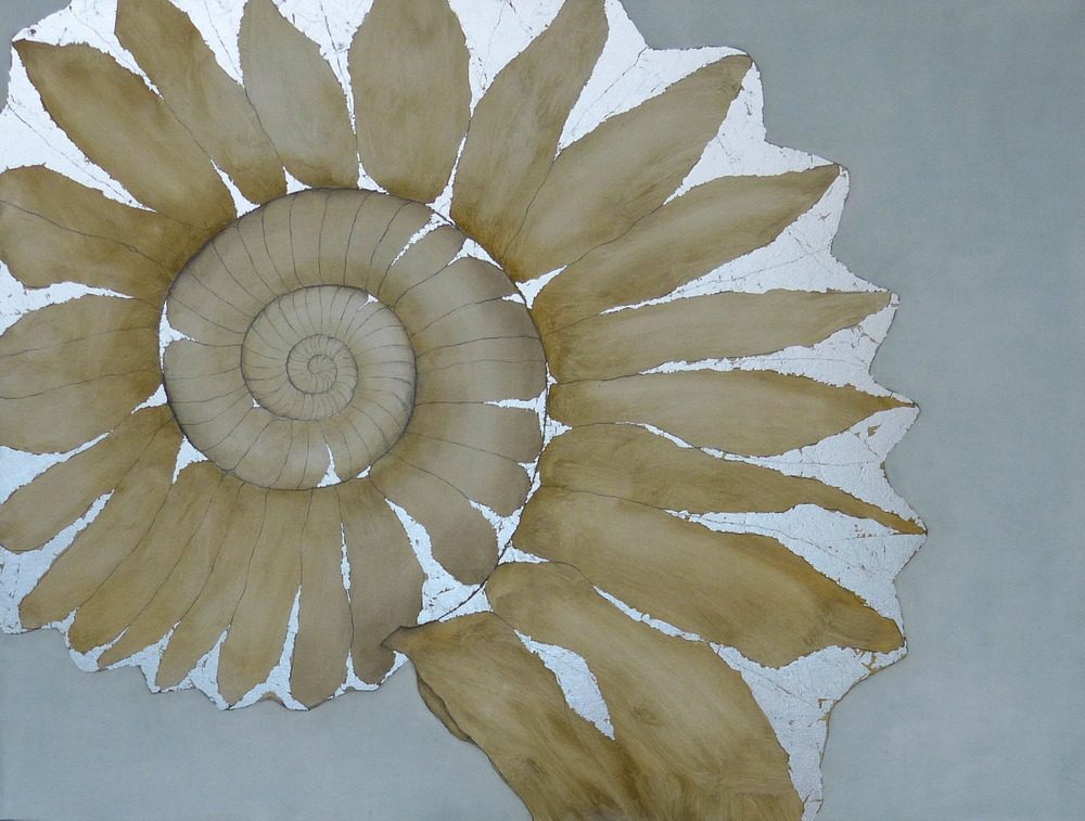 AMMONITE 4030  102x76cm | oil on canvas with silver leaf | £1,200.00 |  SOLD