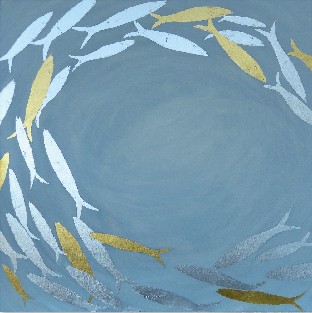 SHOAL OF FISH  102x102cm | oil on canvas with silver leaf  £1,500.00  |  SOLD