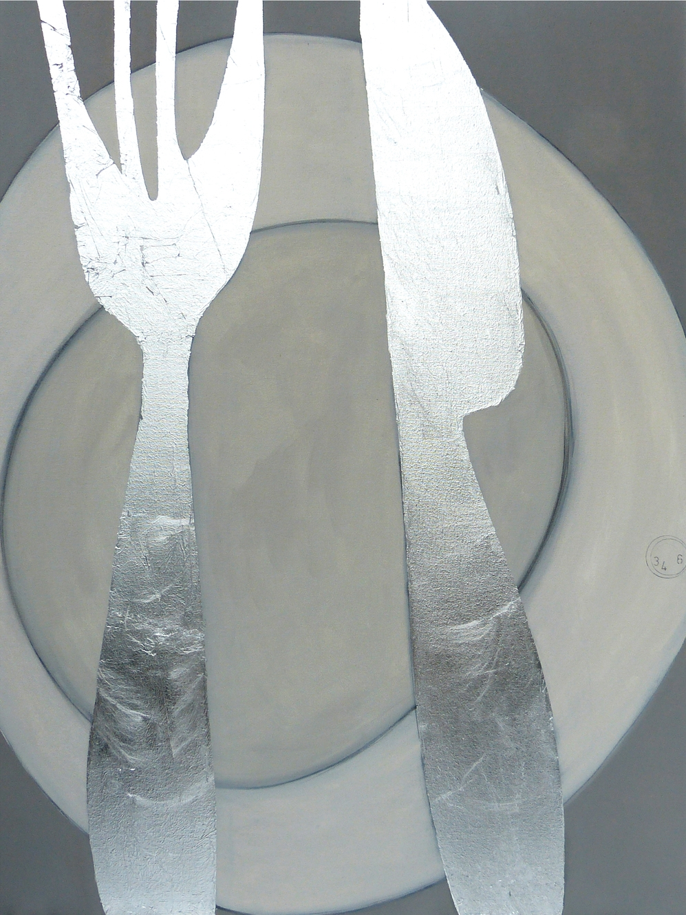 KNIFE AND FORK  102x76cm     | oil on canvas with silver leaf |   £1,600.00 | SOLD