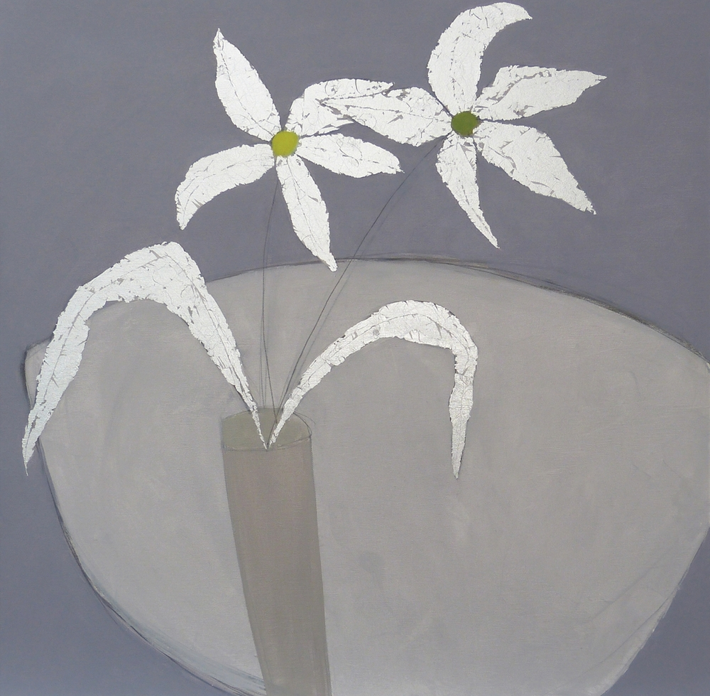 SUNSHINE FLOWERS  76x76cm | oil on canvas with silver leaf | £1,200.00 | SOLD