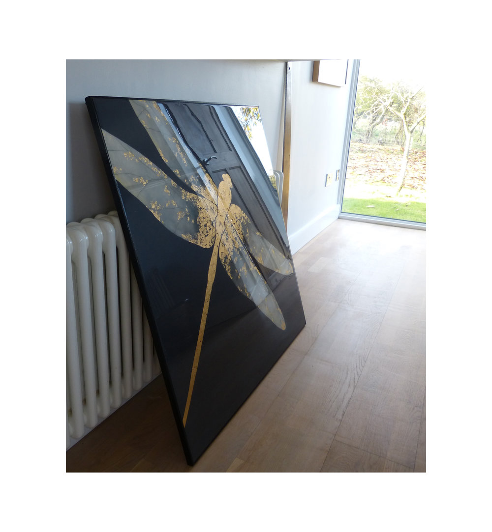 ATER DRAGONFLY  92x92cm | oil on board with gold leaf and resin | £1800.00