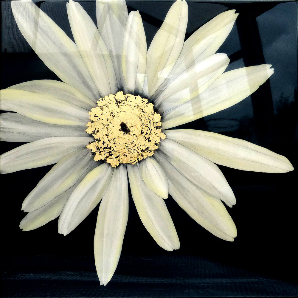 CELESTE Daisy | 90x90cm | oil and metal leaf on board with high gloss epoxy resin | £1750.00 | SOLD