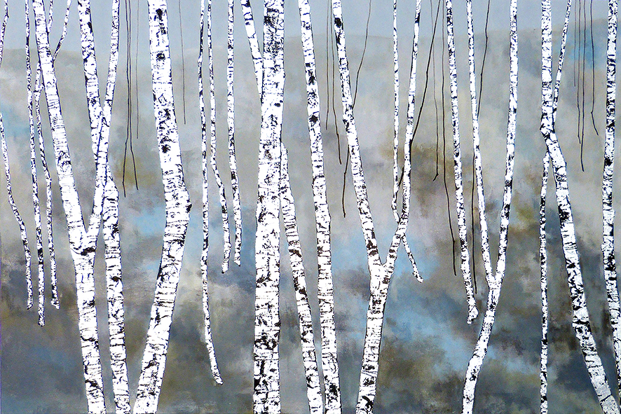 HALL'S BIRCH TREE | 120x64cm | acrylic on canvas with silver leaf  | £1500.00 | SOLD