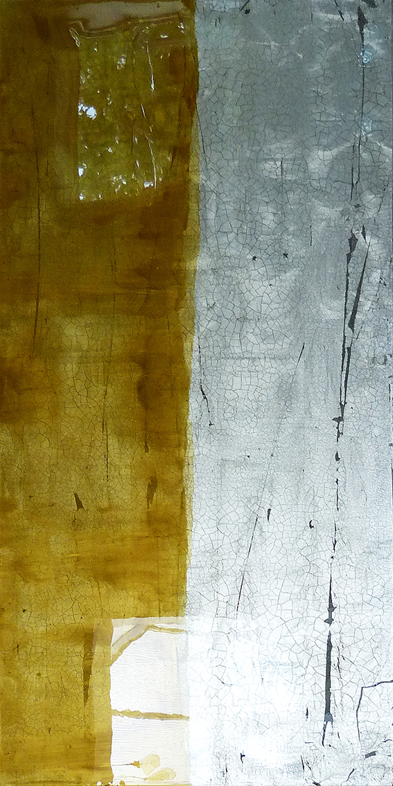 MOYO | 122x61cm gilded silver leaf and mixed media on board with high gloss epoxy resin | £1800.00 | SOLD