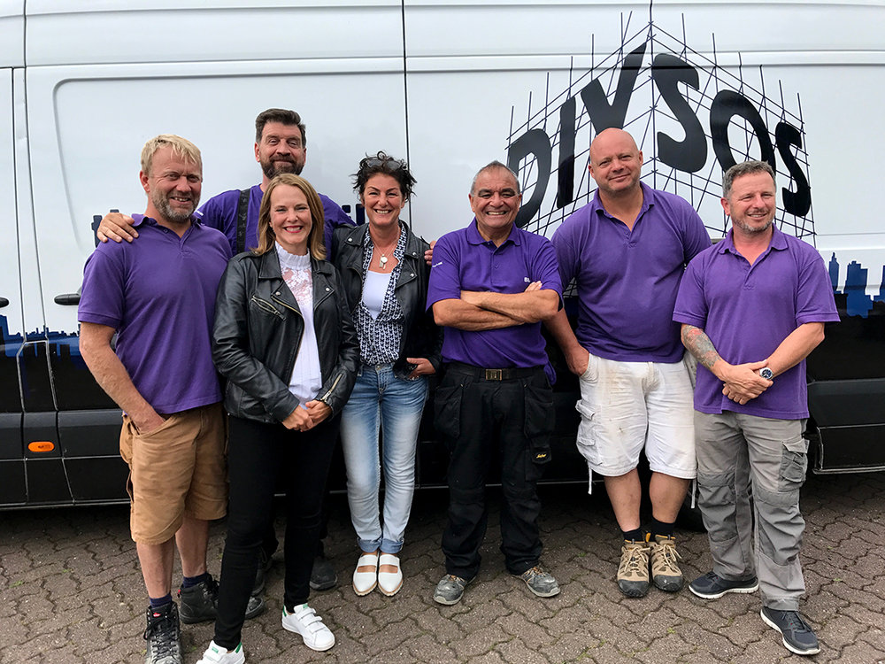 With the BBC TV program DIYSOS. Filming in July 2017. My painting (below) will be featured.