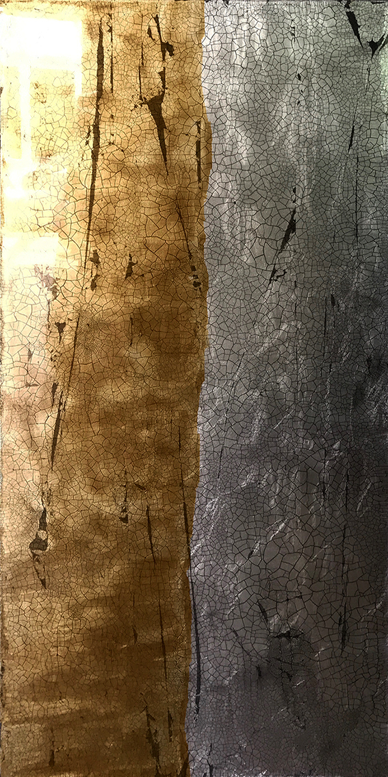 TIBOR | 122x61cm gilded silver leaf and mixed media on board with high gloss epoxy resin | £1800.00 | SOLD