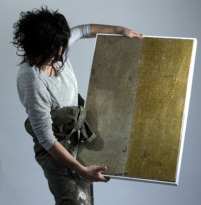 OTAVA 1 | 78x53cm gilded silver leaf and mixed media on board with high gloss epoxy resin | £1,650.00