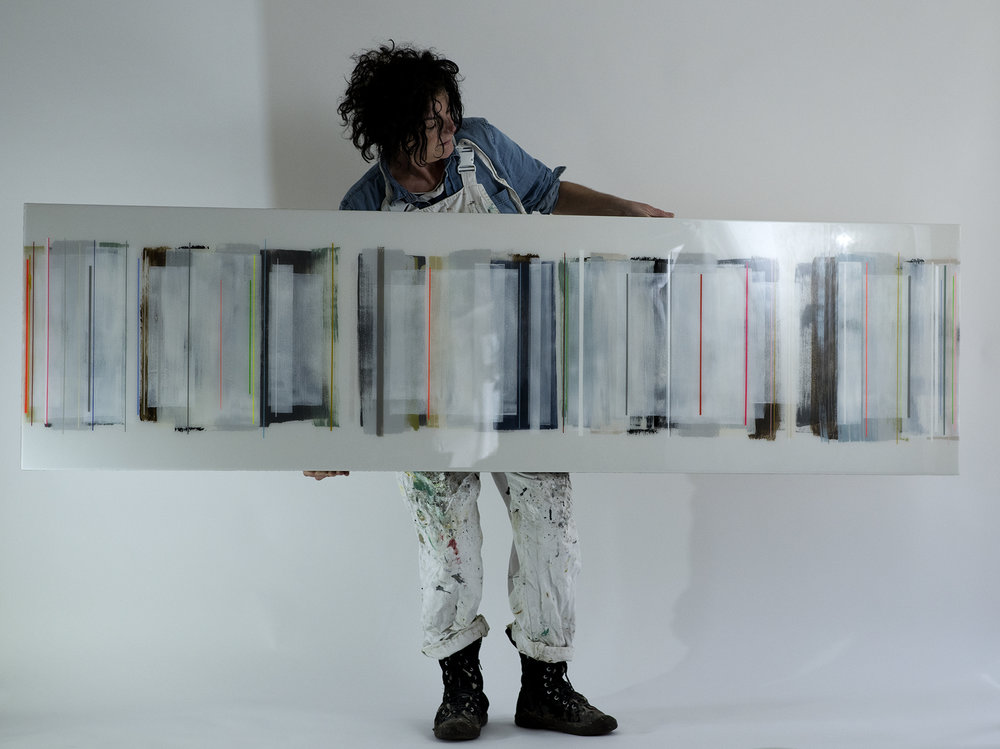 JOLYON NYC no.2 | 225x61cm | mixed media on board with high gloss epoxy resin |  £2,600.00 |