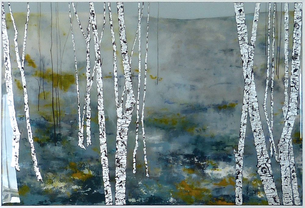 BIRCH - BEFORE EVENING  94x64cm   acrylic and silver leaf on board with resin finish    £1,900.00