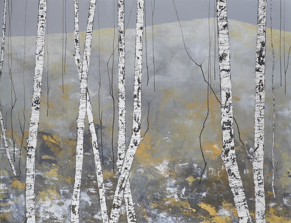 ERICA'S FIELD 102x76cm | mixed media on canvas with silver leaf | £2,200.00 |
