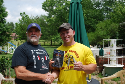 Here I am (right) with my judge, Kent Durso (left) after certifying on the Captains of Crush #3 Gripper in May 2015.