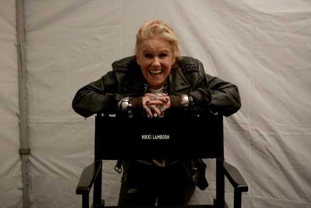 Nikki Lamborn on the set of Mute.