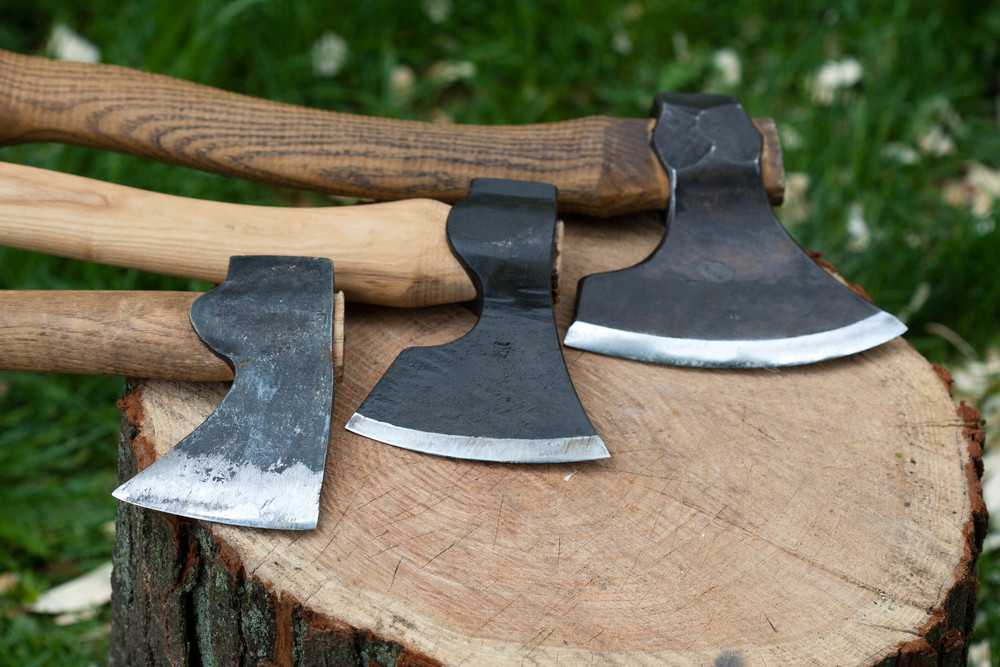 From left to right: Gransfors Bruks Wildlife Hatchet, Hans Karlsson Carpenters Axe, Svante Djarv Little Viking