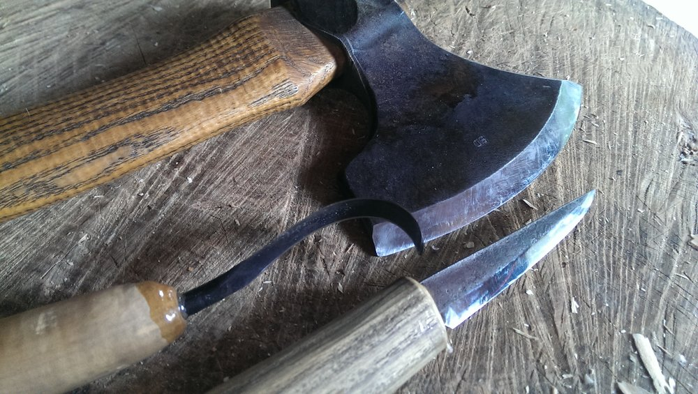 Svante Djarv Little Viking Axe, Nic Westermann Fawcett knife and Slojd carving knife