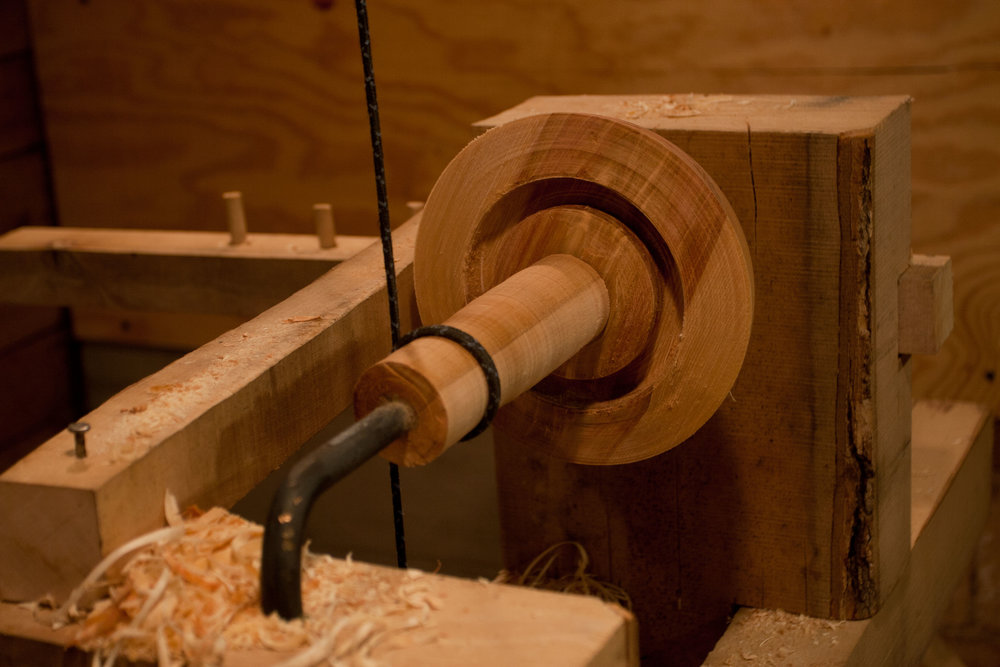 Wooden bowl on pole lathe