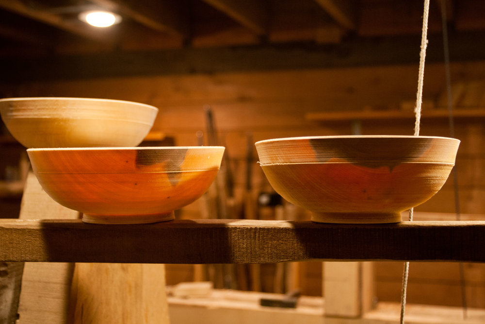 Three wooden bowls