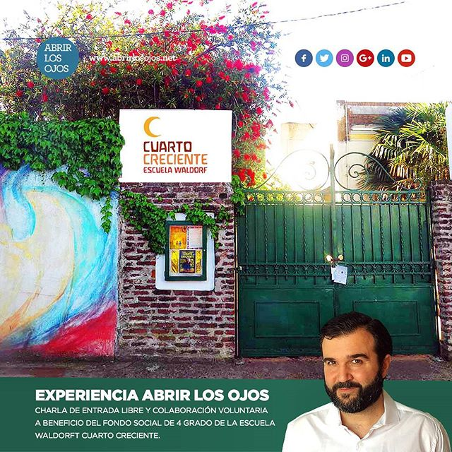 EXPERIENCIA @abrir_los_ojos Los espero a todos a la charla que voy a dar de ENTRADA LIBRE y COLABORACIÓN VOLUNTARIA a beneficio del fondo social de 4 grado de la Escuela Waldorf Cuarto Creciente. . A realizarse el Viernes 24 de Noviembre a las 19:30 hs en Martín Miguel de Güemes 1747, Florida, Buenos Aires, Argentina. . . #Charla #AbrirLosOjos #GuidoEnCuartoCreciente #EscuelaWaldorfCuartoCreciente #Experiencia #Superación #Autoestima #Felicidad #Noviembre2017